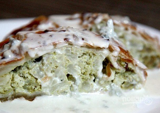Слоеный пирог с брокколи и цветной капустой