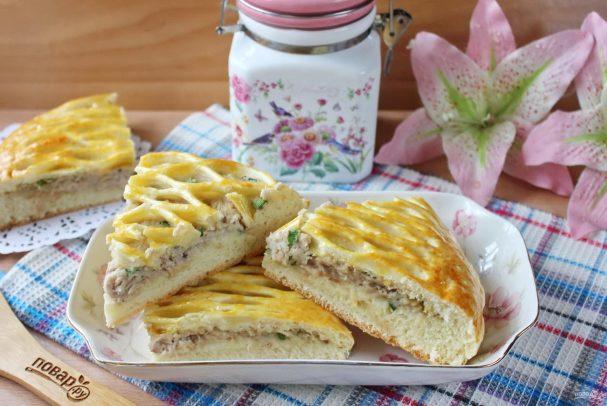 """Пирог с курицей в соусе """"Бешамель"""""""