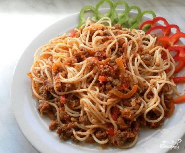 рецепт пасты с помидорами и фаршем с фото