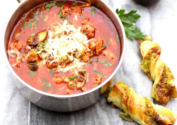 Томатный суп с ветчиной