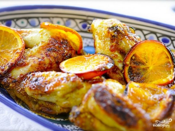 Курица в духовке с апельсинами