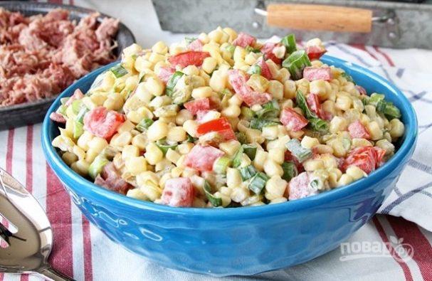 Острый салат из кукурузы
