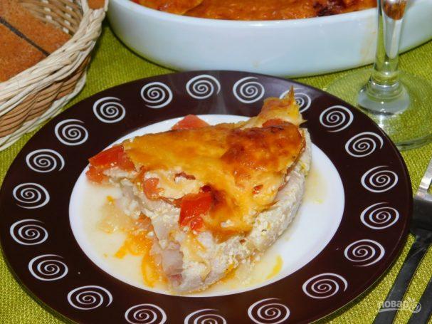 Рыба с овощами под сыром
