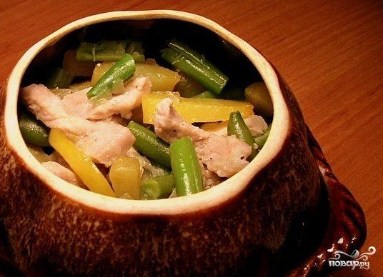 Фасоль стручковая со свининой - рецепт с фото на