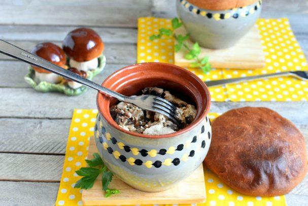 Жаркое в горшочках с белыми грибами и свининой