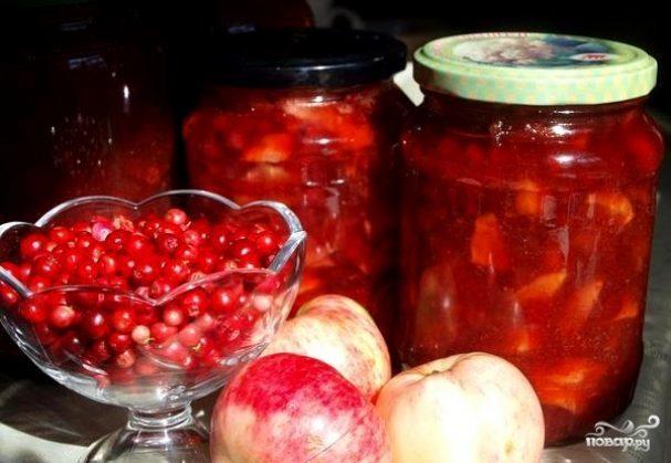 Варенье из брусники с яблоками