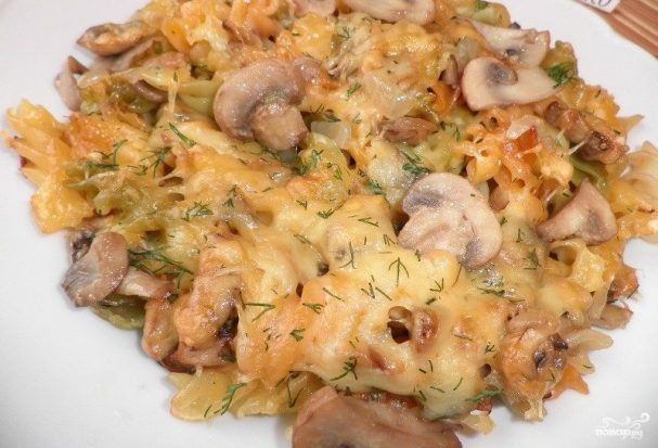 рецепт грибы с макаронами