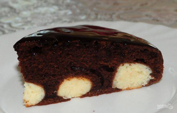 Рецепт шоколадного пирога с творожными шариками