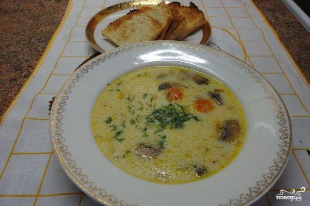 Суп грибной белый