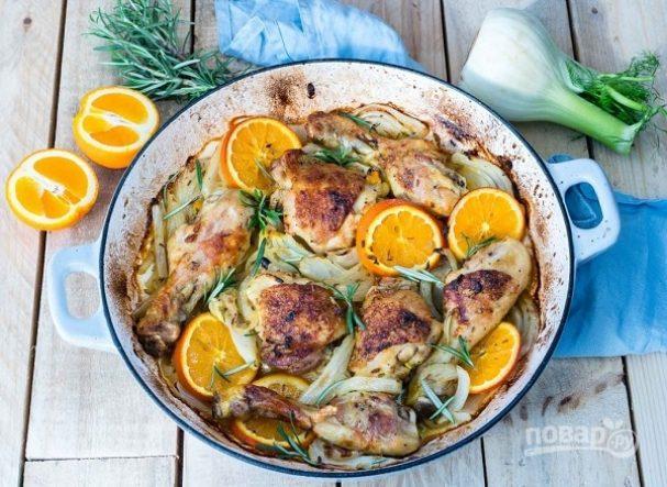 Запеченная курица с апельсинами и фенхелем