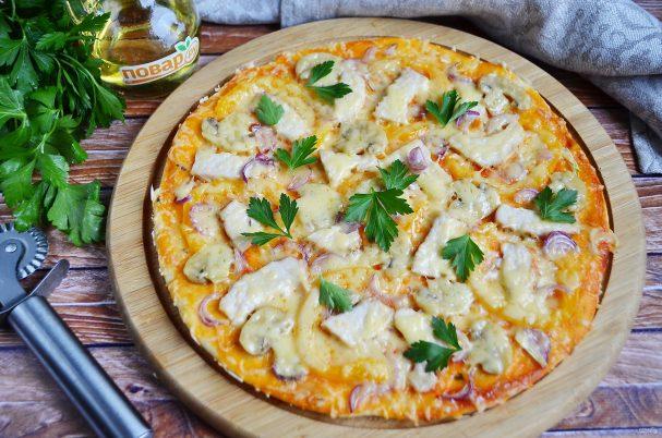 Пицца с курицей (пошаговый рецепт)