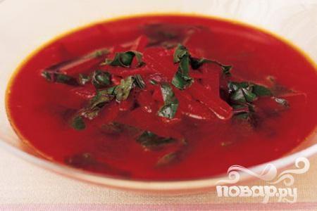 Суп из свеклы с помидорами и специями