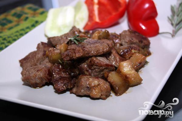 Мясо с баклажанами
