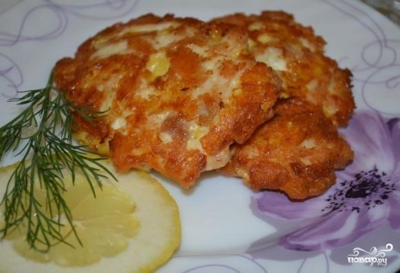 Котлеты из рубленого куриного филе с сыром