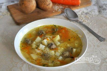 Русский суп с фрикадельками
