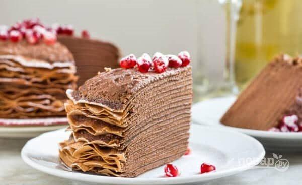 Торт из блинов с шоколадным муссом