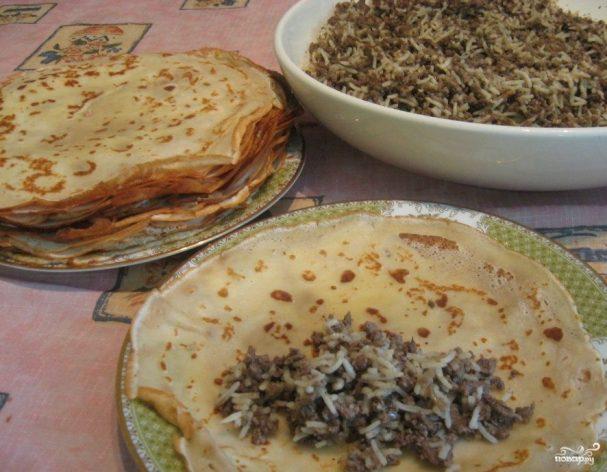 блины фаршированные с печенью и рисом