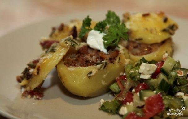 Фаршированный картофель грибами