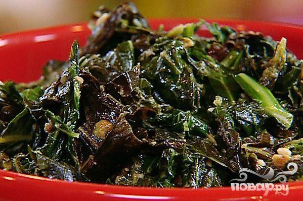 Теплый салат из одуванчика