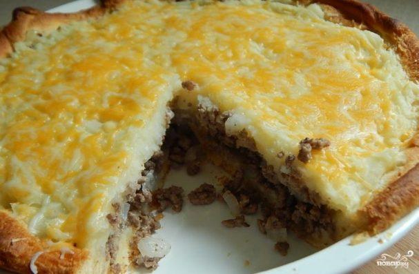 Заливной пирог с мясом и картошкой
