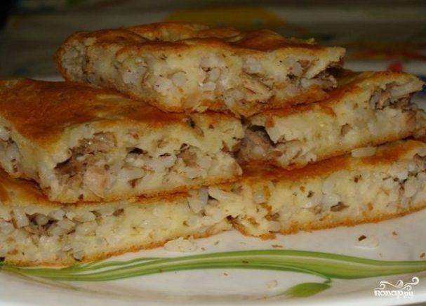 Пирог с рисом и рыбой