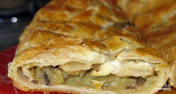 Слоеный пирог с грибами и картофелем