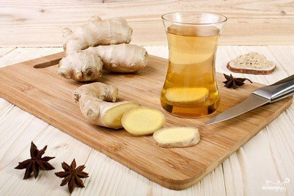 Зеленый чай с корнем имбиря
