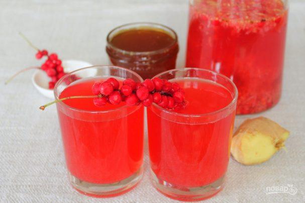 Имбирный напиток с малиной и лимонником