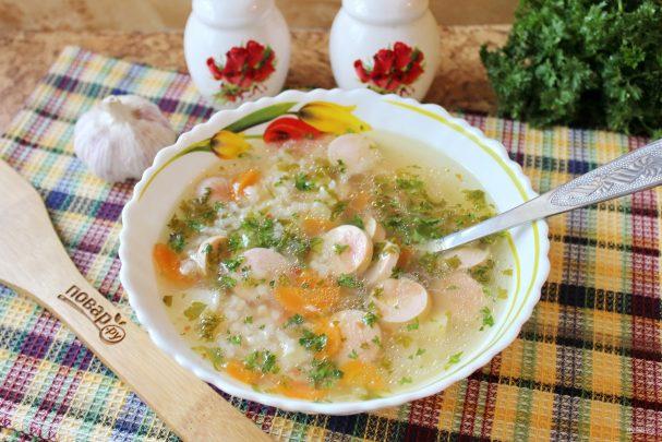 Суп с сосисками и рисом