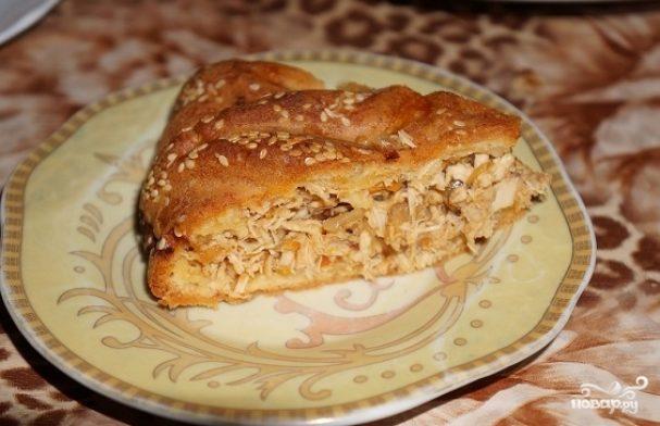 Пирог с мясом на бисквитном тесте