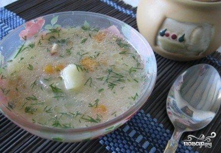 Суп куриный с плавленым сыром