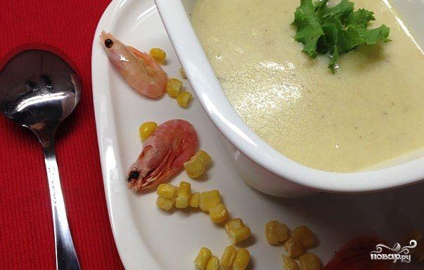 Кукурузный крем-суп с креветками