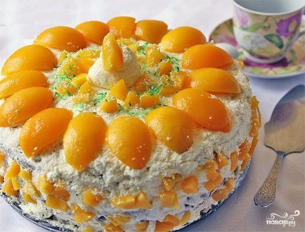 Торт творожный с персиками