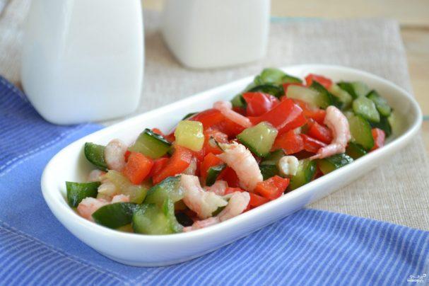 Постный салат с креветками