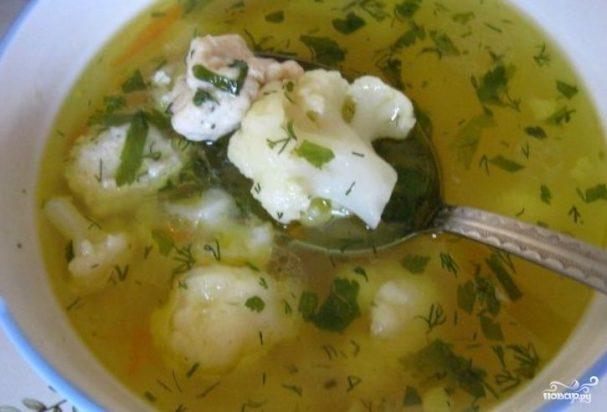 Суп с цветной капустой и фрикадельками
