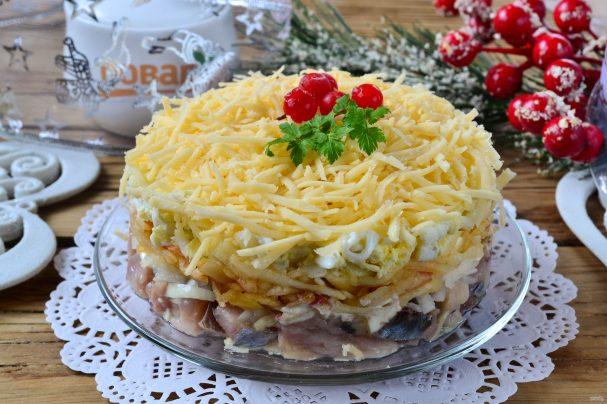 "Новогодний салат ""Селедка под снегом"""