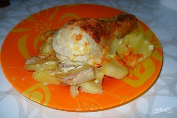 Куриные голени с картошкой со сметаной