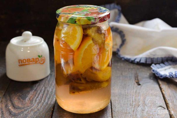 Компот из персиков и апельсинов на зиму