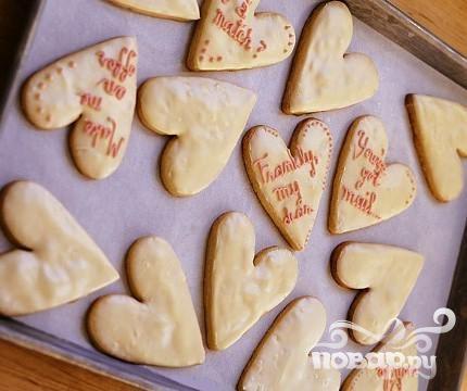 Печенье-сердечки с белым шоколадом