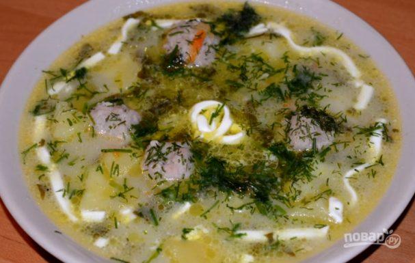 Щавелевый супчик с фрикадельками и плавленым сыром