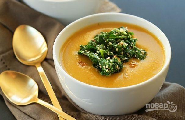Суп-пюре из тыквы с чесноком