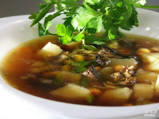 Суп из сушеных подосиновиков