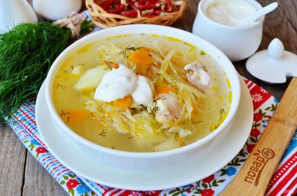 Суп с квашеной капустой и курицей