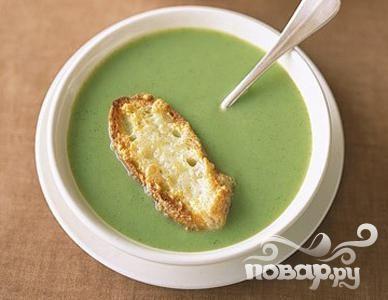 Суп из брокколи с сырными тостами