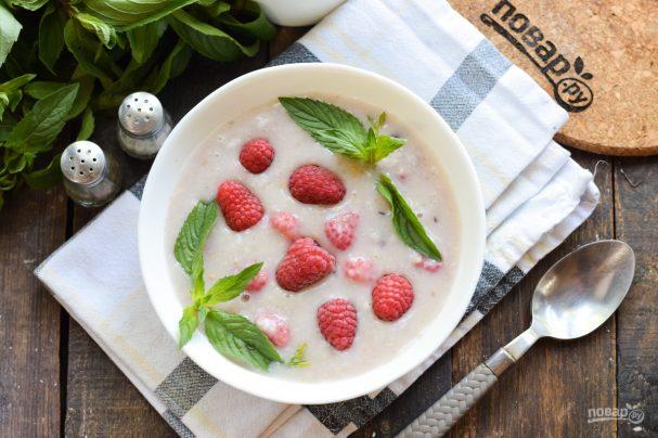 Суп-пюре со злаками и малиной