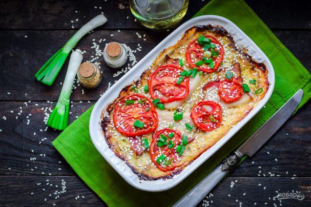 Запеканка из кабачков с фаршем и помидором