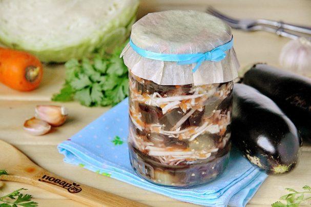 Царский салат из баклажанов и капусты