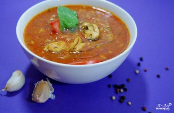 томатный суп с мидиями рецепт