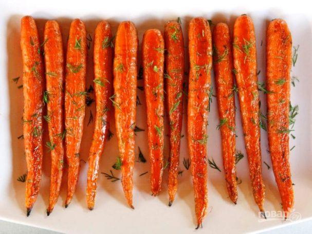 Запечённая морковь с укропом