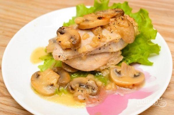 Вкусное блюдо из куриной грудки с грибами